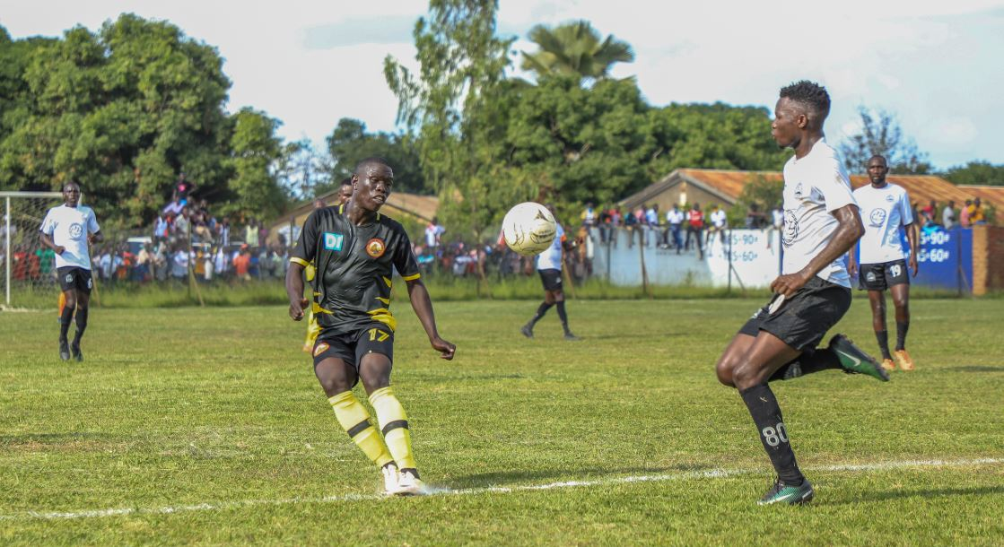Agau strikes the ball during the game against Calvary at Greenlight Stadium